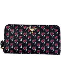 Heart Flower Print Black Leather Long Wallet 1ML506 Zip Around