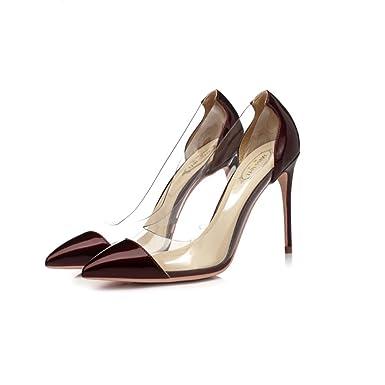 Femmes Talons Rouge Chaussures De Mariage Sexy Pointu Cuir Verni Escarpins Sandales Pompes Fête Discothèque Fête,Gray(10cm)-EU34/UK2