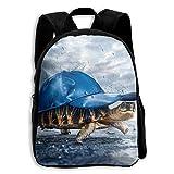 JHXZML Blue Hat Tortoise In Rain Student School Backpack Elementary School Bags Bookbag For Kids