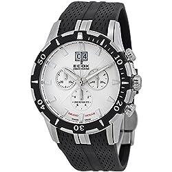 Edox Grand Ocean Chronograph White Dial Black Rubber Mens Watch 10022-3-AIN