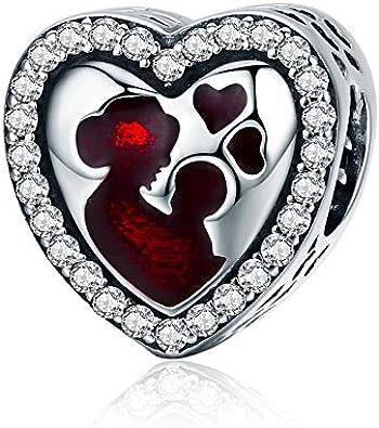 ENYU Las Madres aman el corazón Los encantos de Las Mujeres Joyería de Pandora Plateado Venta de Abalorios Cubic Zirconia Día de la Madre, el Día de San Valentín