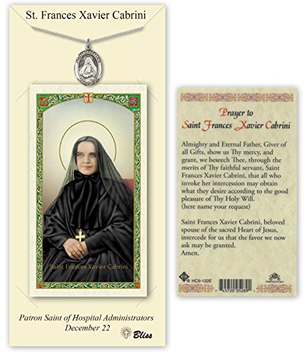 Pewter Saint Frances Cabrini Medal with Laminated Holy Prayer Card
