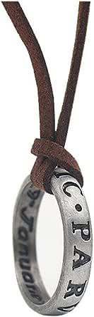 Collar con colgante de plata de ley 925 Uncharted 4 Drake grabado anillo colgante, cadena de cuero marrón