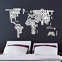 ZMvise World Map Wall Decals Stickers Removable Waterproof Decorative PVC Cool Funny Words-Large Text World Map Design for Kids Children Bedroom, Nursery, Game Room Decor (White)