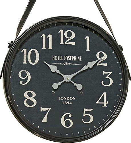 The Old English 1894 Clock, Strap Hanger, Vintage Style Black Face, Over 1 1/2 Feet Diameter (20 Inches) White Hands, Glass Cover, Iron Case, Stitched Faux Leather, 1 AA Battery, (Not Included)