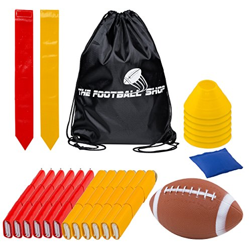 Flag Football Set for 12 Players - Includes Durable Flag Belts and Flags, Cones, Bean Bag, Carrying Backpack, and Football - Huge 55 Piece Complete Set (Red and Yellow) ()