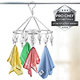 Pro Chef Kitchen Tools Clothes Drying Rack - Round Clothing Racks - Laundry Portable Clothesline Includes 18 Metal Clothespins Hanger Clips Set - Baby Clothes Storage Closet - Herb