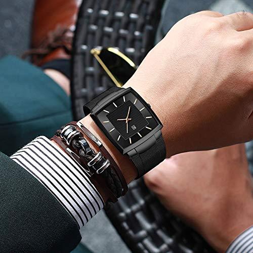N·XHXL män kvartsklockor, enkelt mode sport vattentät armbandsur för affärer vardag, rostfritt stålband, fantastiska presenter till gentleman