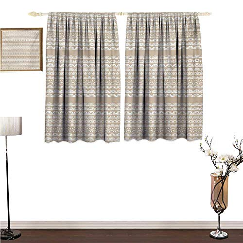 Collection Lace Antique - Summerial Tan and White, Window Curtain Fabric, Lace Style Antique Border Motifs Collection Vintage and Feminine Ornament, Kids Room Artwork 2 Panels Set, W63 x L45 Inches, Tan White
