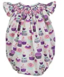 Carouselwear Baby Girls First Birthday Party Bubble Romper Smocked Cupcakes