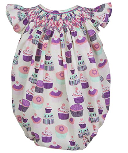 Smocked Cupcake (Carouselwear Baby Girls First Birthday Party Bubble Romper Smocked Cupcakes)