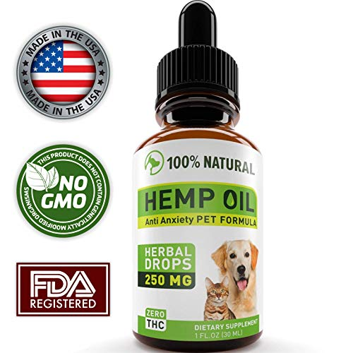 Hemp Oil Dogs Cats - Full Spectrum Hemp Extract 250mg - Grown & Made in USA - All Natural Pain Relief Dogs, Stress & Anxiety Support, Calming, Hip & Joint Health - Easily Apply to Treats
