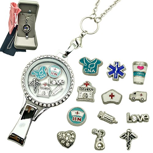 Dotiow Floating Locket Lanyard Glass Locket ID Badge Holder with 12pcs/set Nurse Theme Floating Charms 30 inch Stainless Steel Chain Necklace (Gifts For A Nurse)