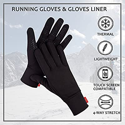 Aegend Lightweight Running Gloves Ski Snowboard Gloves Women Men Touch Screen Gloves Cycling Bike Sports Compression Liner Gloves for Winter Early Spring Or Fall,4 Colors, 3 Sizes