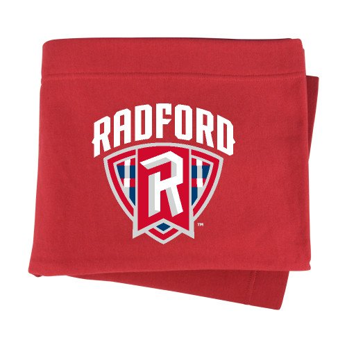 (CollegeFanGear Radford Red Sweatshirt Blanket 'Primary Mark')