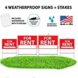 WDS Premium For Rent Signs With Stakes + BONUS Waterproof Flyer Holder + Permanent Marker - Yard Signs - Reusable Double-Sided w/ Directional Arrows - NEW FOR 2018! TALLER YARD STAKES + FLYER BAG