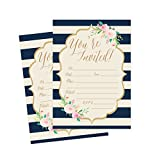 50 Navy Invitations, Bridal Shower Invite, Baby Shower Invitations, Wedding, Rehearsal Dinner Invites, Engagement, Bachelorette Party, Birthday Party, Anniversary, Housewarming, Graduation, Sweet 16