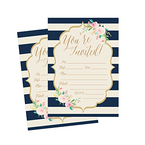 (50 Navy Invitations, Bridal Shower Invite, Baby Shower Invitations, Wedding, Rehearsal Dinner Invites, Engagement, Bachelorette Party, Reception Party, Anniversary, Housewarming, Graduation, Sweet 16)