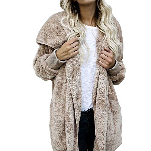 IEason Women Hooded Long Coat Jacket Hoodies Parka Outwear Cardigan Coat (L, Khaki)
