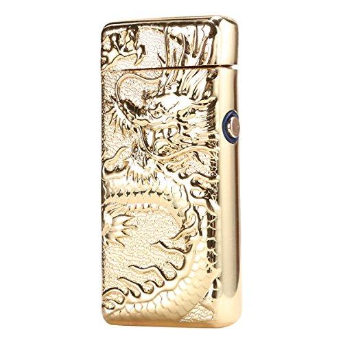 Padgene Windproof Flameless ElectronicUSB Port Rechargeable Cigarette Lighter Portble No Gas Lighter (Gold)