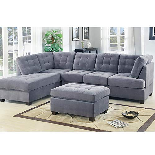 Casa AndreaMilano 2 Piece Modern Grey Soft Tufted Micro Suede Sectional Sofa Couch with Reversible Chaise & Ottoman, L Shaped Sectionals (Grey) (Tufted Sectional Chaise Sofa)