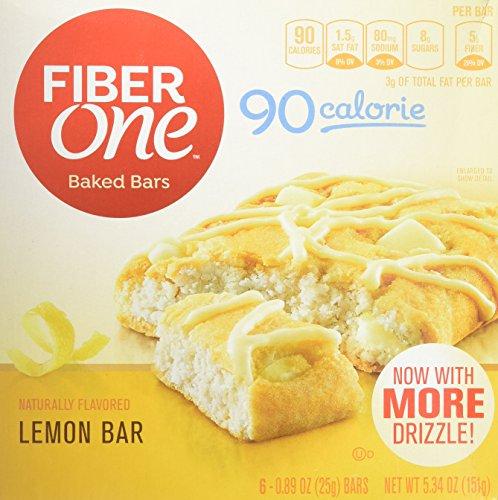 Fiber One 90 Calorie , Lemon Bar, 0.89 Ounce, 6 Count (Pack of 8)
