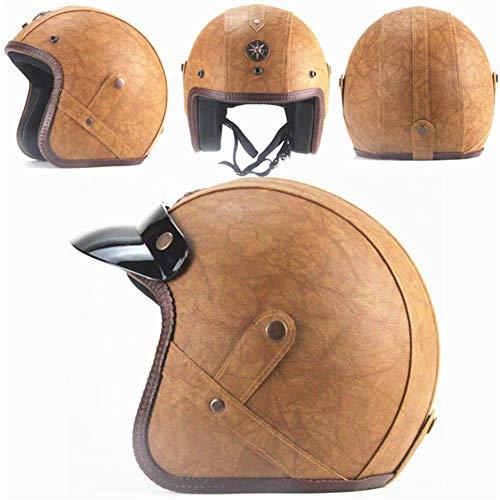 Loyasun Harley Helmets - Casco de Moto de Piel sintética 3/4 con máscara de anteojos