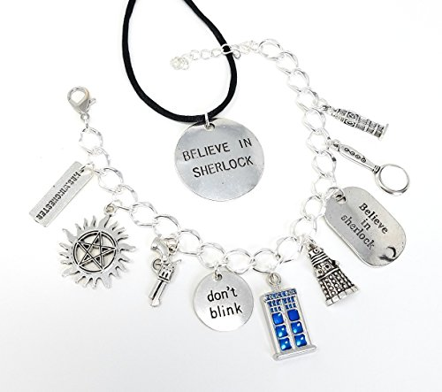 Super Who Lock Charm Bracelet and Believe in Sherlock Necklace Set. Includes Anti-possession Symbol, Don't Blink, Tardis, Believe in Sherlock, Mrs Winchester, Dalek and more