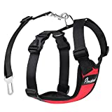 PAWABOO Dog Safety Vest Harness, Pet Dog Adjustable Car Safety Mesh Harness Travel Strap Vest with Car Seat Belt Lead Clip, Large Size, RED
