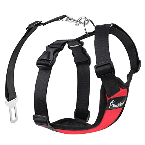PAWABOO Dog Safety Vest Harness, Pet Dog Adjustable Car Safety Mesh Harness Travel Strap Vest with Car Seat Belt Lead Clip, Suitable for 11 lb-33 lb Dogs, RED Review