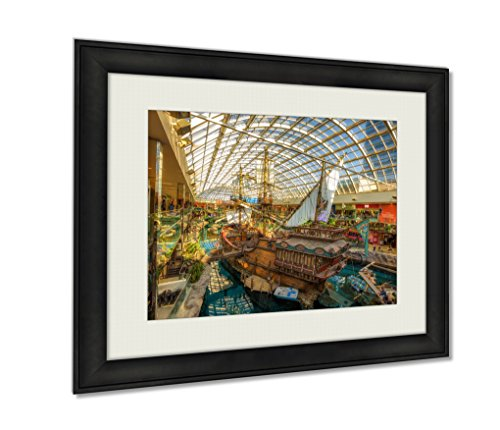 Ashley Framed Prints, St Maria Pirate Vessel In The West Edmonton Mall, Wall Art Decor Giclee Photo Print In Black Wood Frame, Ready to hang, 24x30 Art, - Edmonton Mall Pictures