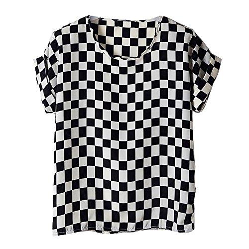 de blouses Chauve Impression T Carrs Mousseline Haut Courtes Soie Coeur Chemisiers Noir Blanc Souris Femme shirts Manches oiseau Vobaga en q748EpXn