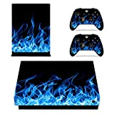 xbox one controller personalized - eXtremeRate Full Set Faceplates Cover, Home Guide Button Decal, Console Controller Skin Sticker for Xbox One X - Blue Fire
