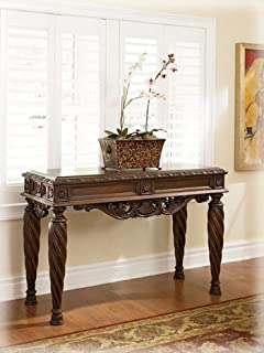 ashley furniture signature design north shore sofa table rectangular traditional dark brown - North Shore Living Room Set
