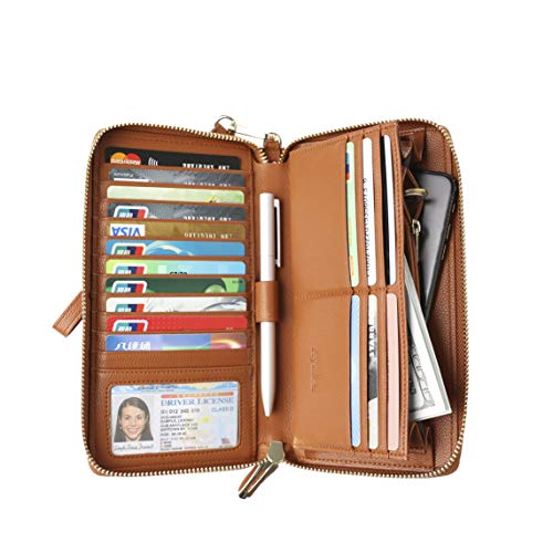 Womens RFID Blocking Wallet Real Leather Zip Around Clutch Large Travel Purse Wristlet