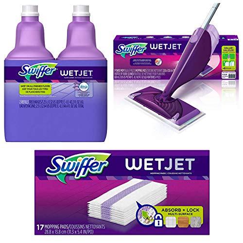 Bundle: Swiffer Wetjet Hardwood Mop Pad Refills, 17 Count + Swiffer Wetjet Hardwood Floor Mopping & Cleaning Solution Refills (2 Pack) + Swiffer WetJet Hardwood & Floor Spray Mop Cleaner Starter Kit