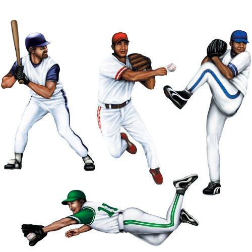 Baseball Player Cutouts-4 Per Unit (Baseball Cutout)
