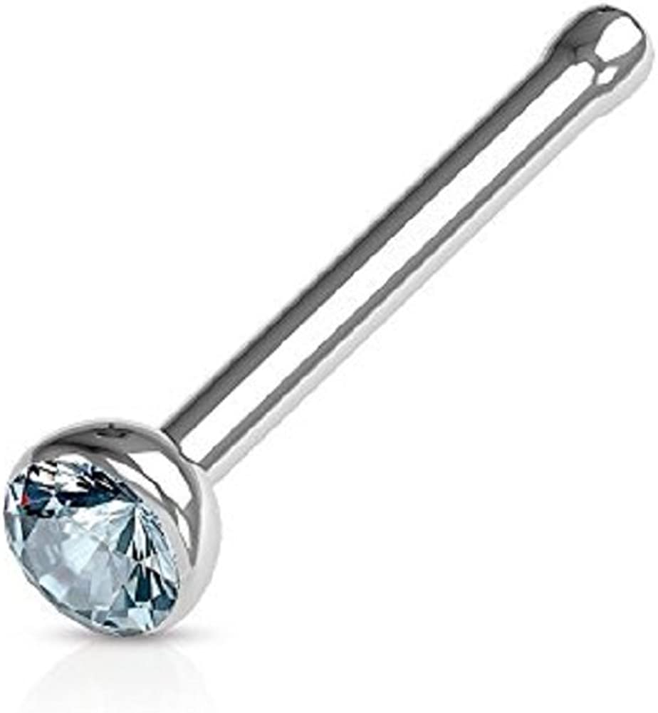 Nickle Free Press fit CZ Gem 316L Surgical Steel 20g 2 Pieces TheMaddHatter 1.5mm Nose Bone with 0.8mm