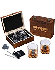 Whiskey Stones and Glasses Gift Set for Men – 8 Whiskey Scotch Bourbon Chilling Stones, 2 Whiskey Glasses in Wooden Box – Father's Day/Christmas/Birthday/Anniversary/Retirement Gift/Present for Father Dad Boyfriend Colleagues