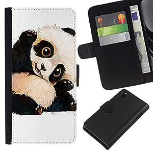 EJOY---La carpeta del tirón la caja de cuero de alta calidad de la PU Caso protector / Sony Xperia Z3 D6603 / --bebé lindo oso panda niños niños de