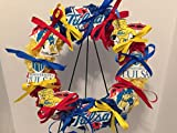 COLLEGE PRIDE - SPIRIT - TU - UNIVERSITY OF TULSA - GOLDEN HURRICANE - CAPTAIN CANE - DORM DECOR - DORM ROOM - COLLECTOR WREATH - ROYAL BLUE, YELLOW & RED CARNATIONS