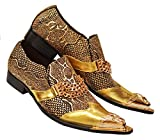 Fiesso Men's Genuine Leather Metallic Finishing Italian Design Italy Bracelets Slip-On Loafer Shoes FI6946, Gold, 11