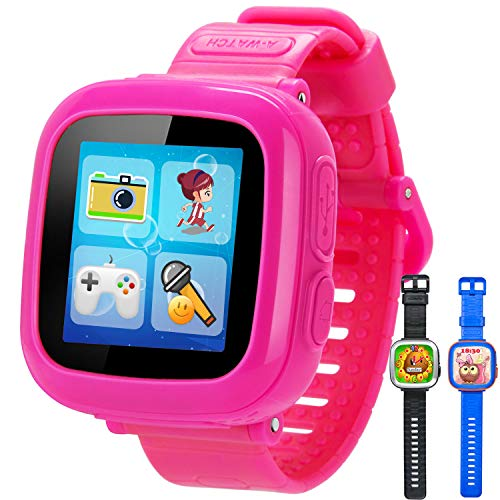 GBD Game Smart Watch for Kids Girls Boys with Camera 1.5 Touch 10 Games Pedometer Timer Alarm Clock Electronic Learning Toys Wrist Watch Bracelet Health Monitor for Holiday Birthday Gifts (Pink)