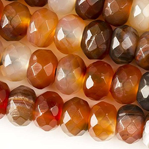 Cherry Blossom Beads Large Hole 2.5mm Drilled Carnelian Beads 8x12mm Faceted Rondelle - 8 Inch Strand (Bead Rondelle Faceted 12mm)