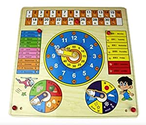 Best Learning & Education Calendar Clock Board Multifunctional Wooden Toys Baby Early Learning Intelligence Development Toys