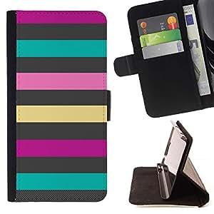 Momo Phone Case / Flip Funda de Cuero Case Cover - Líneas Patrón trullo Rosa Púrpura Verano - Huawei Ascend P8 Lite (Not for Normal P8)