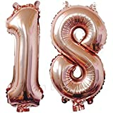ZiYan 40 Inch Giant 18th Rose Gold Number Balloons,Birthday/Party balloons