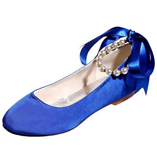 Loslandifen Femmes Satin Bout Rond Appartements Perles Perles Cheville Bas Talon Mariage Ballet Chaussures De Mariée Bleu