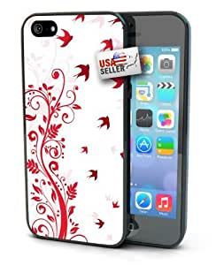 Flower and Birds Black Plastic Cover Case for iphone 5 5s