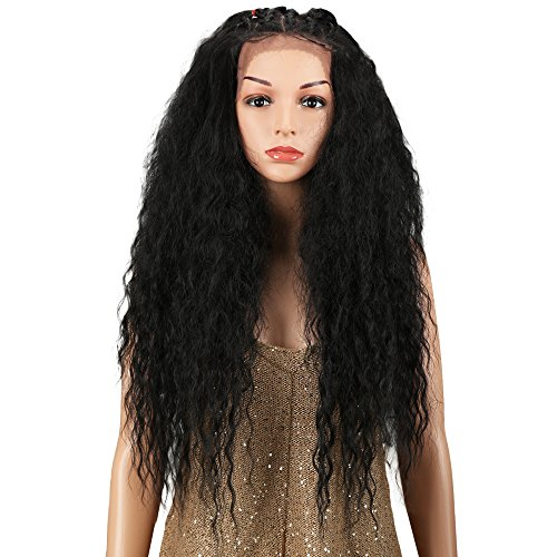 JOEDIR 28 Water Wavy Free Part Lace Frontal Wigs With Baby Hair Hight Temperature Synthetic Human Hair Feeling Wigs For Black Women 180% Density Wigs Ombre Color 200g(1B)